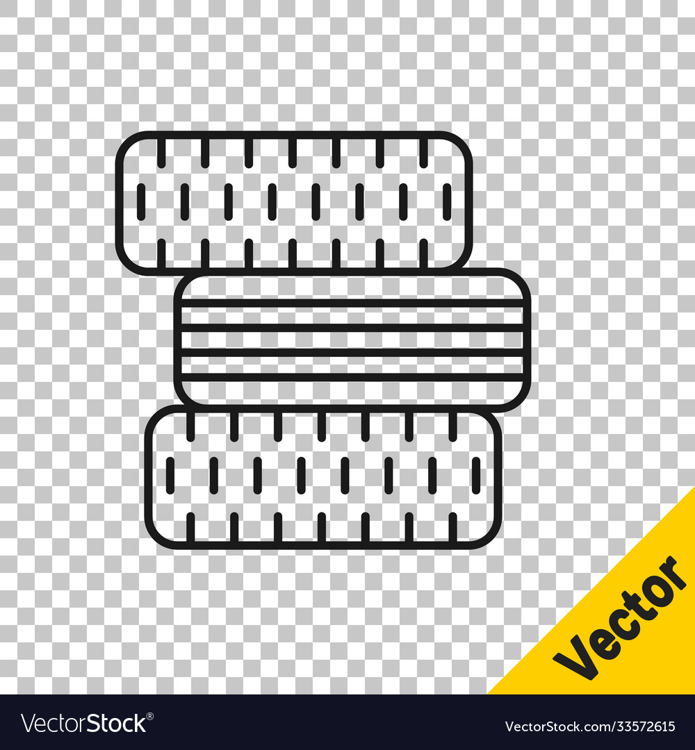 Black line car tire wheel icon isolated on