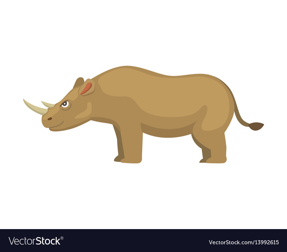 Cartoon funny rhinoceros isolated on white
