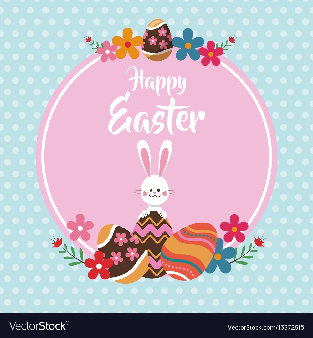 Happy easter rabbit egg floral dots background