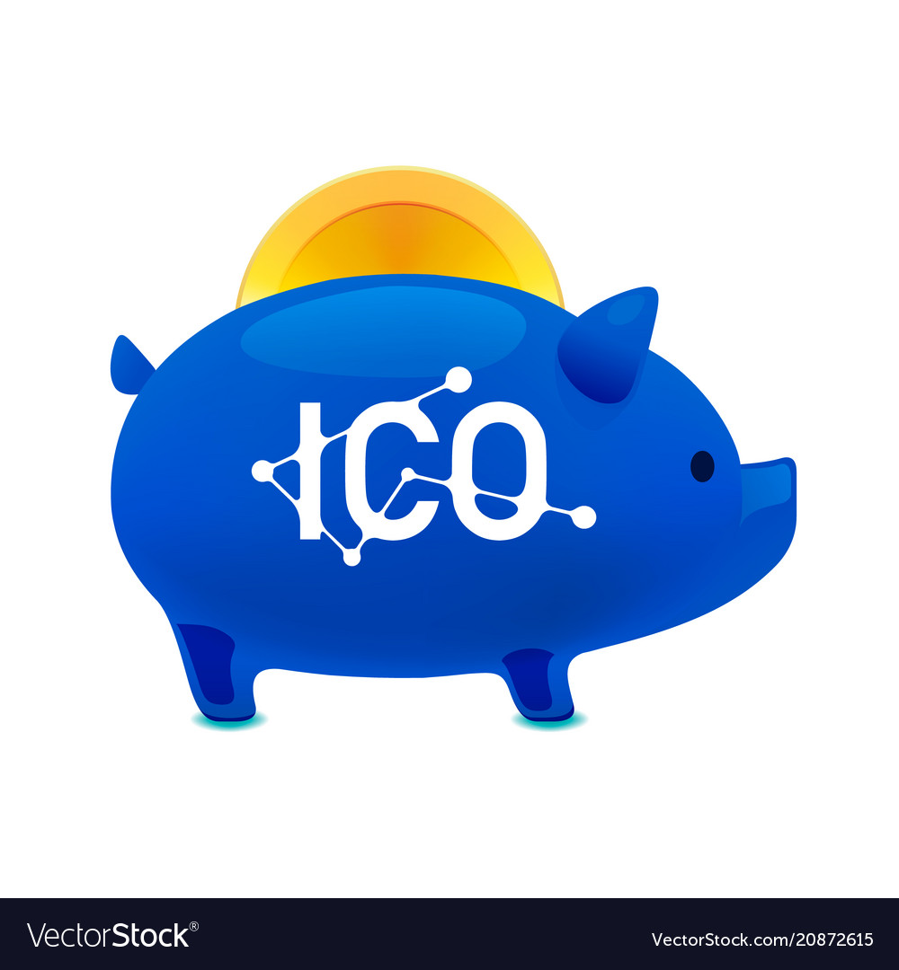 Pig money box icon with falling bitcoin ico