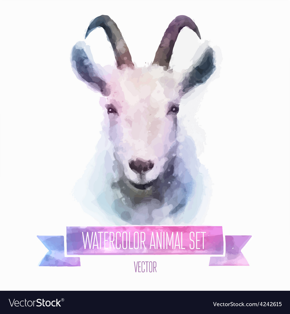 Set of watercolor Cute goat