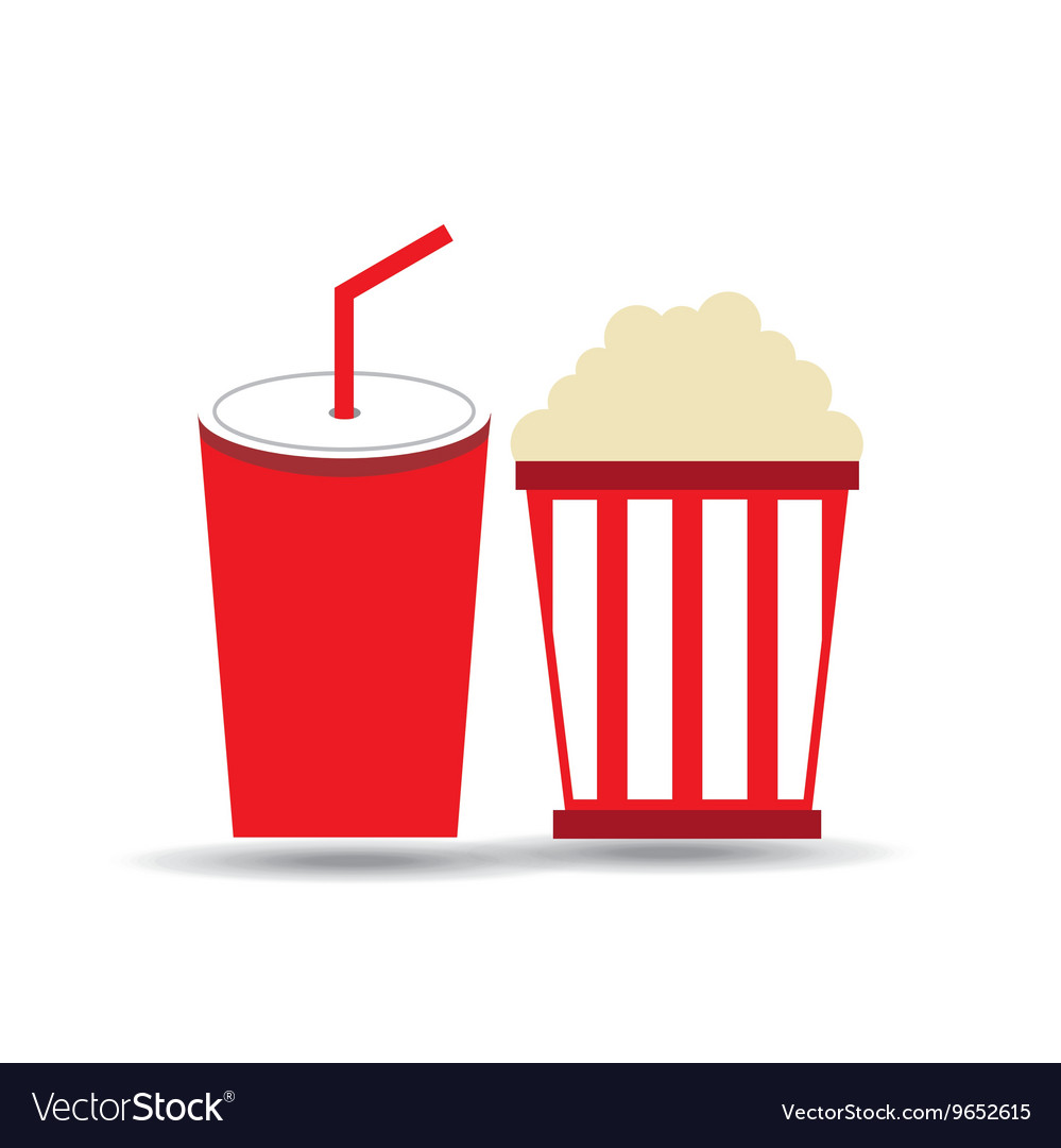 Soda and pop corn isolated icon design