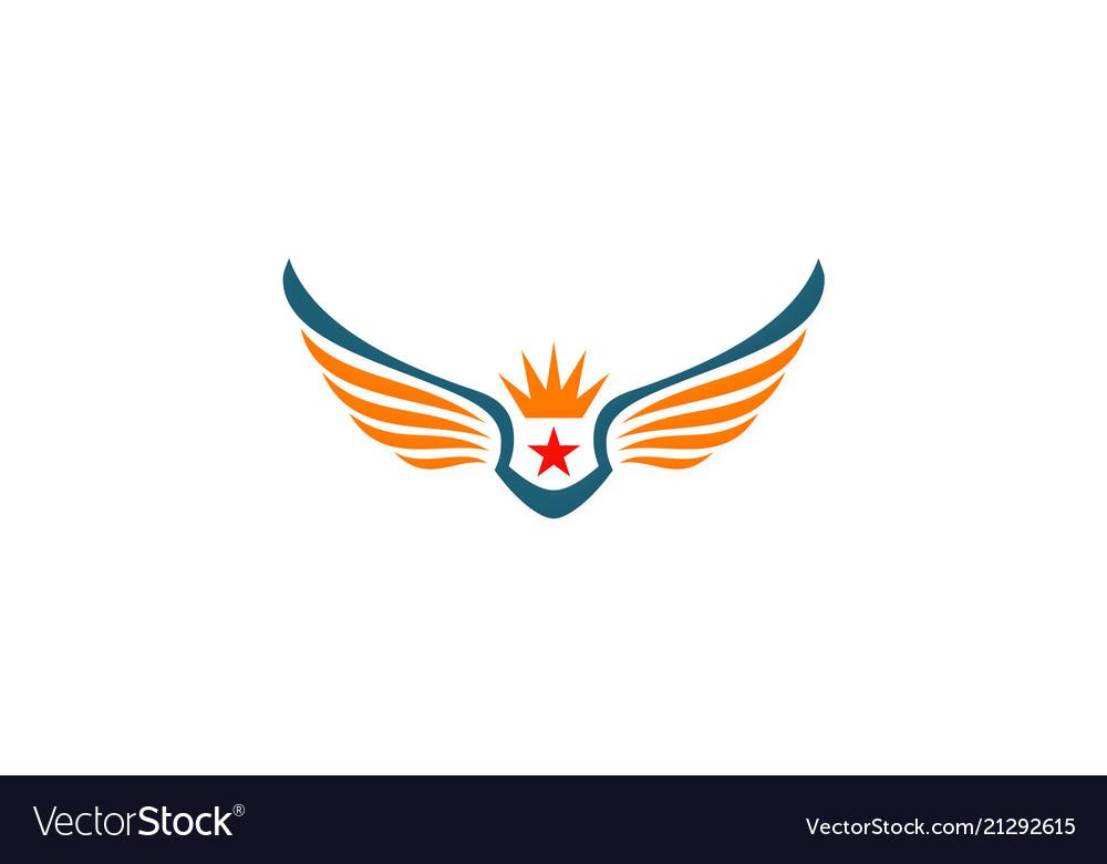 Star wing crown logo