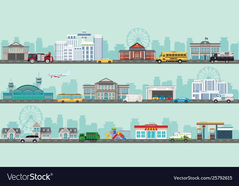 Urban big cityscape with various large modern