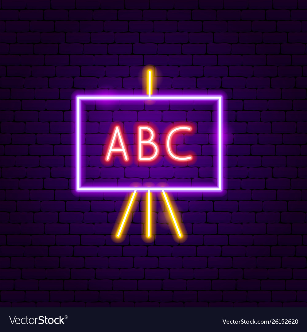 Abc school board neon label
