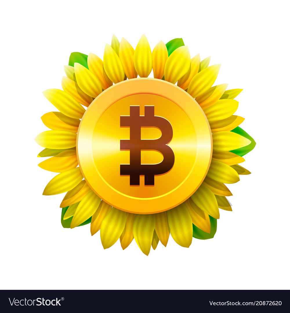 Bitcoin flower concept virtual money vector