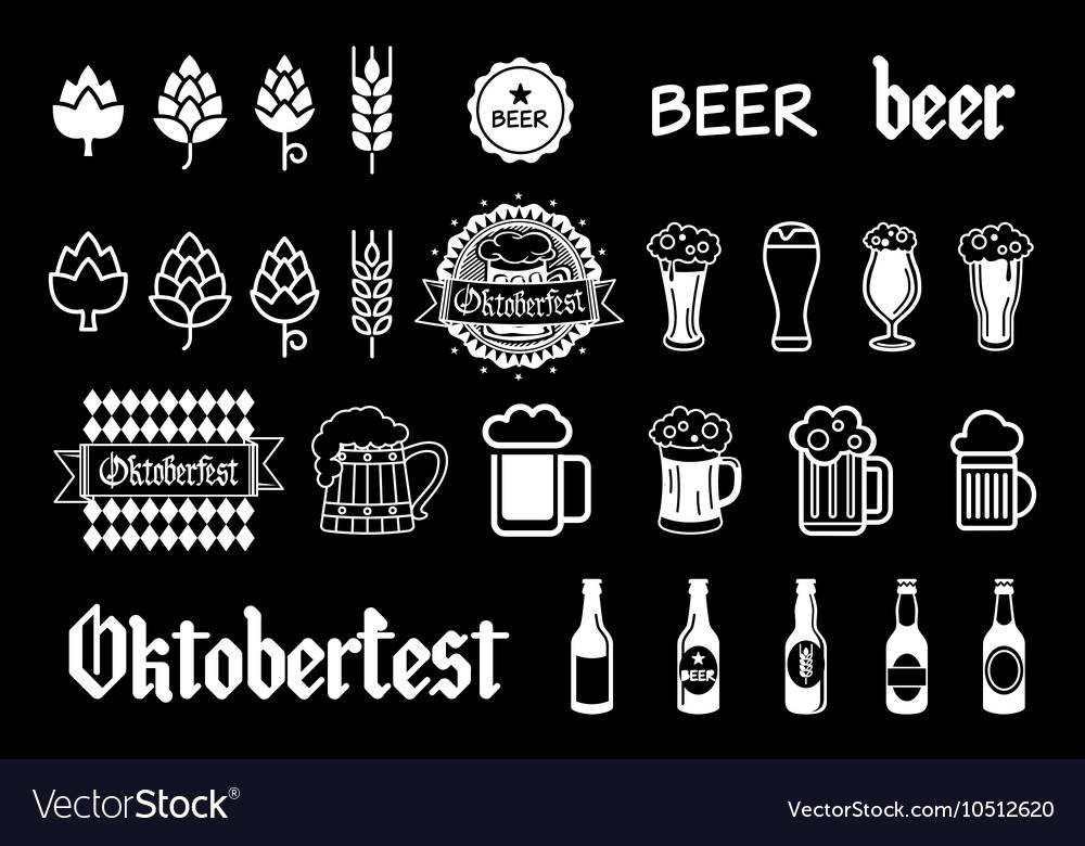 Black beer icons set lager