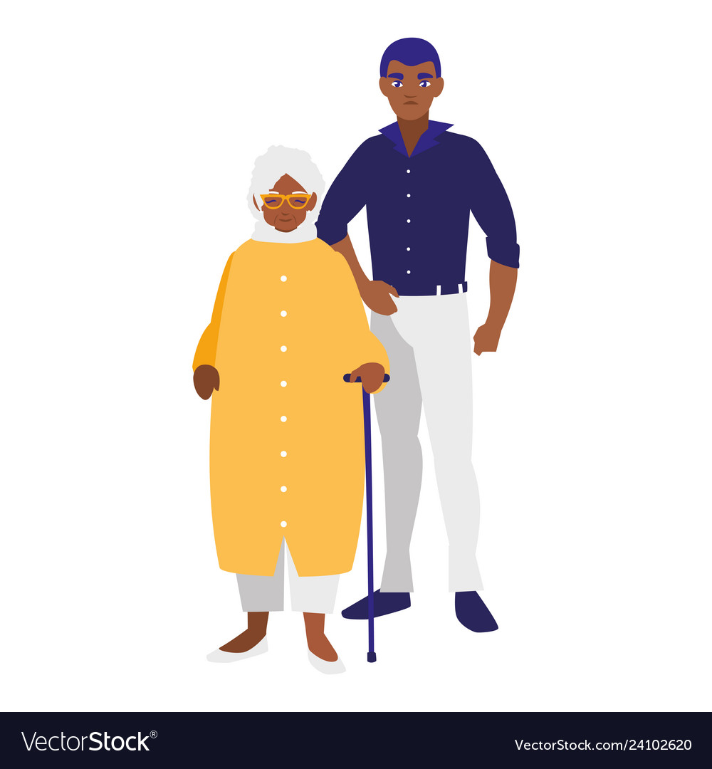 Black grandmother with son characters