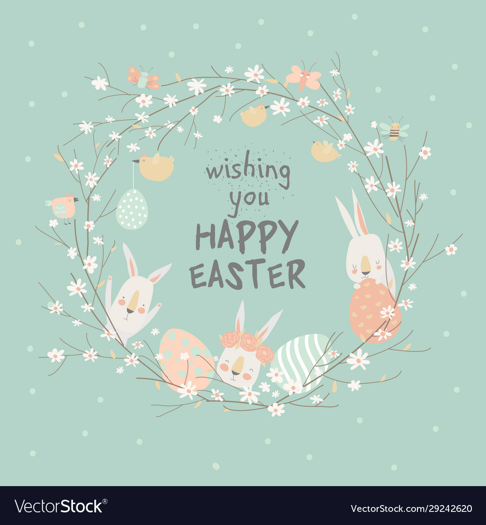 Cartoon easter wreath with cute rabbits and ester