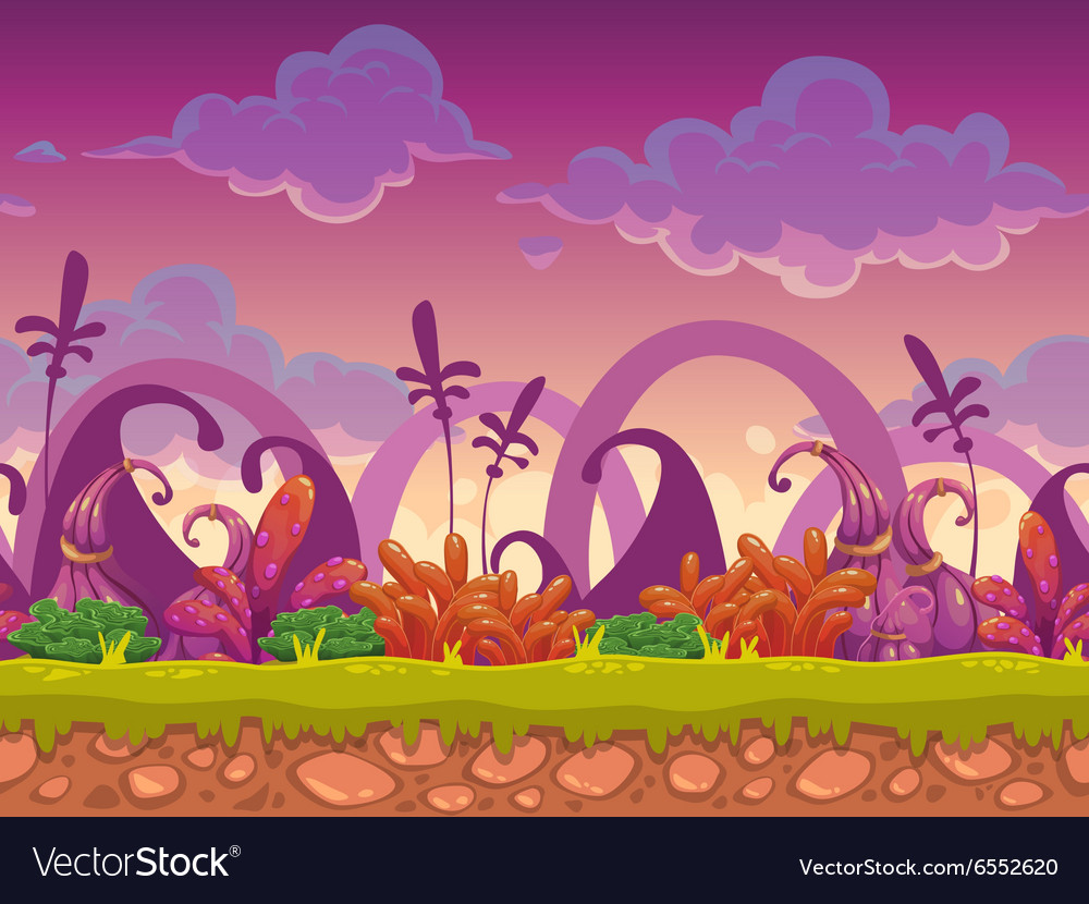 Cartoon fantasy seamless landscape vector image