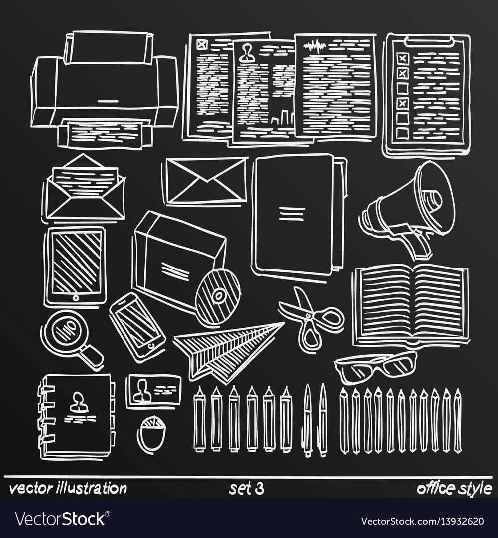 Chalkboard sketch work style set 2