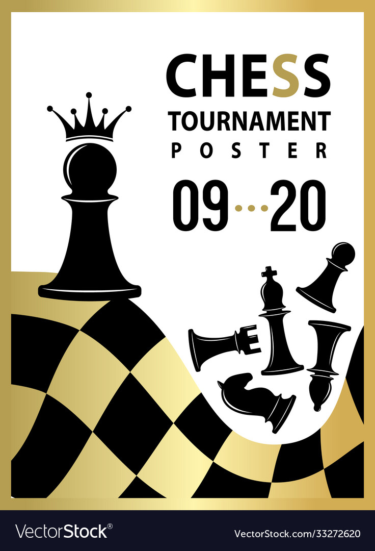 Chess tournament poster banner with pawn to qeen