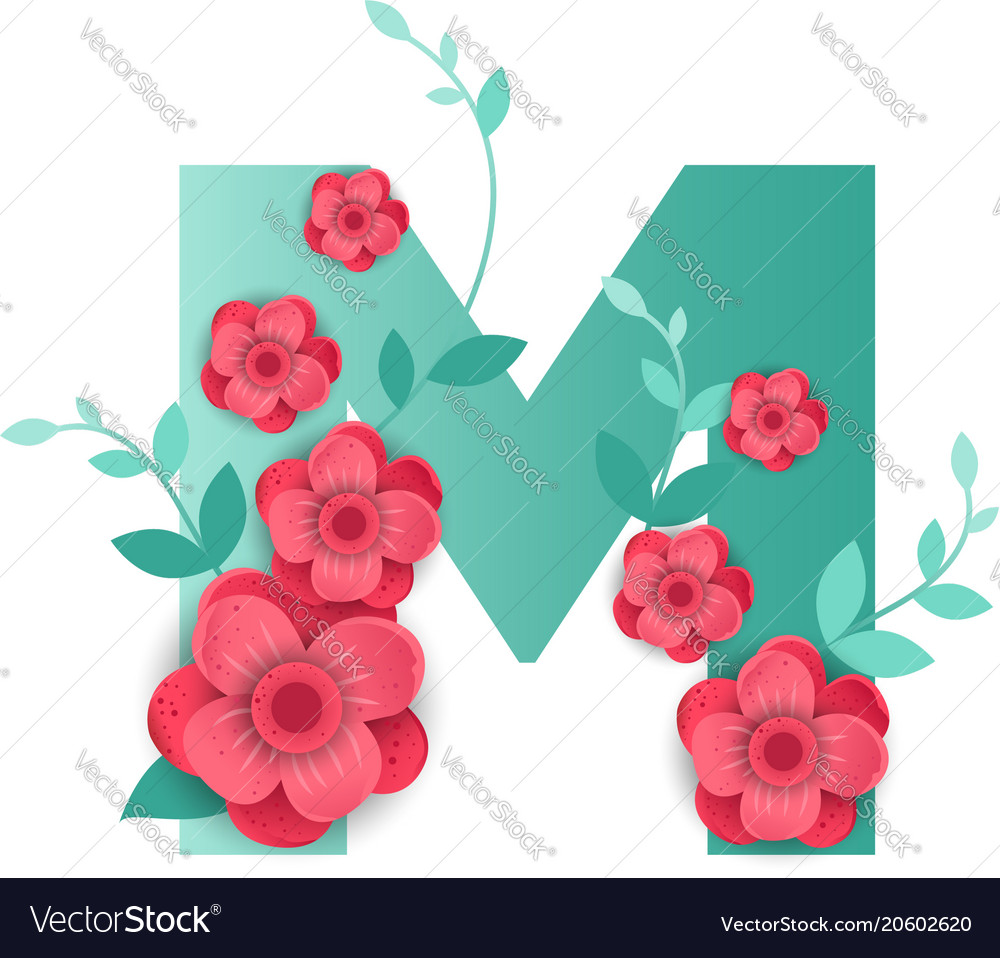 Color Letter M With Beautiful Flowers Royalty Free Vector