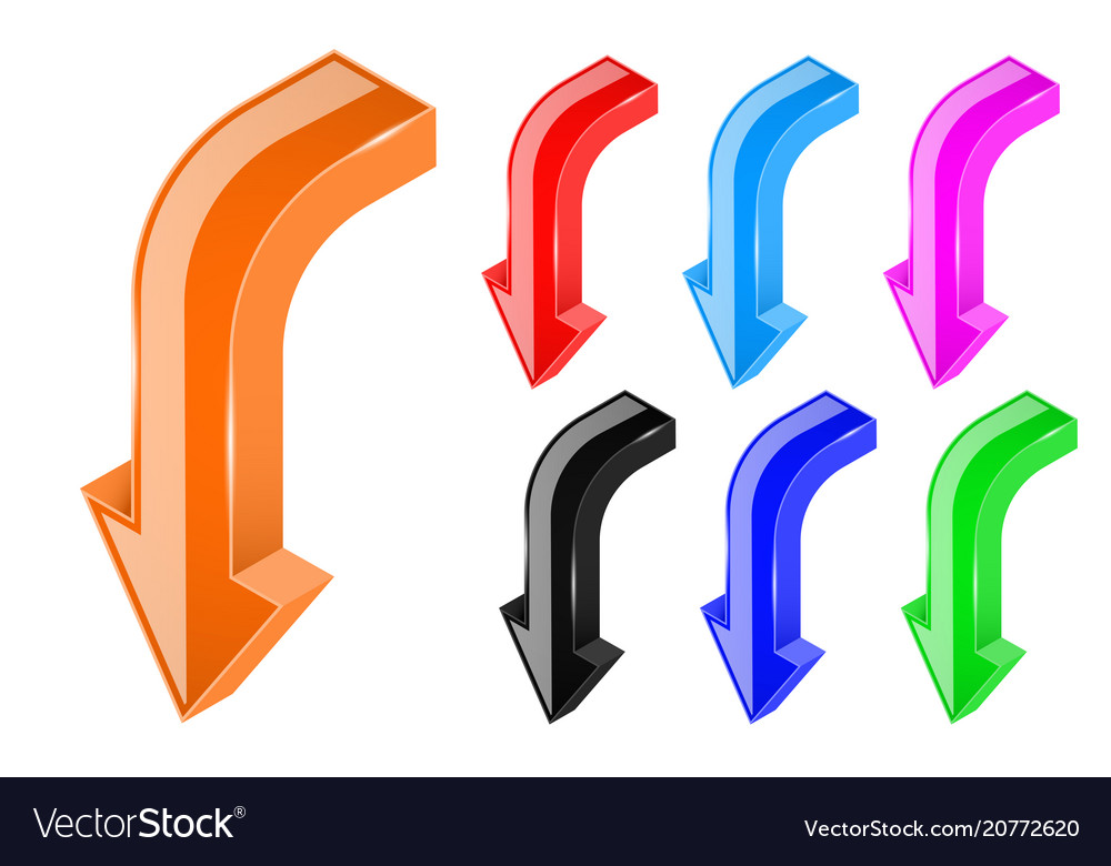 Down arrows 3d bold shiny colored signs