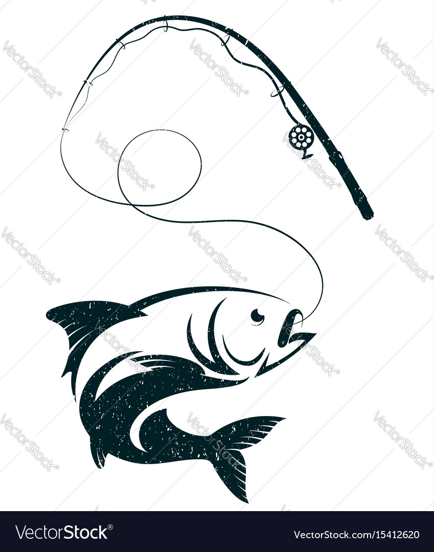 Fish on the hook and fishing rod vector image