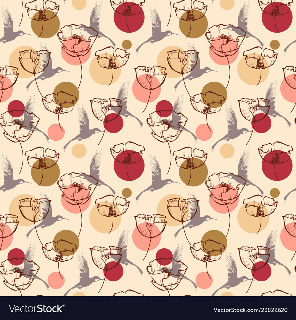 Flowers and birds seamless pattern