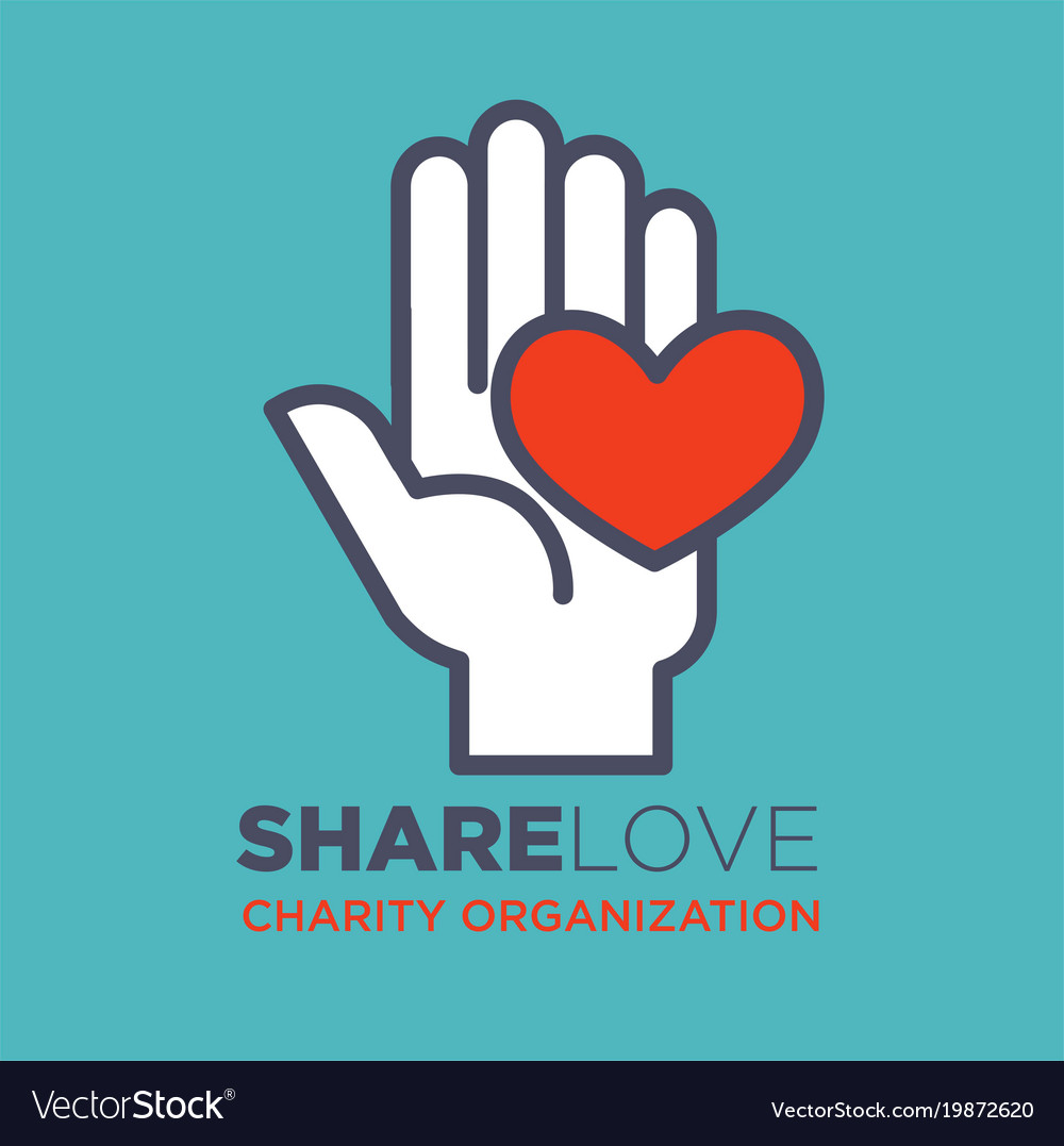 Hand and heart social love and charity