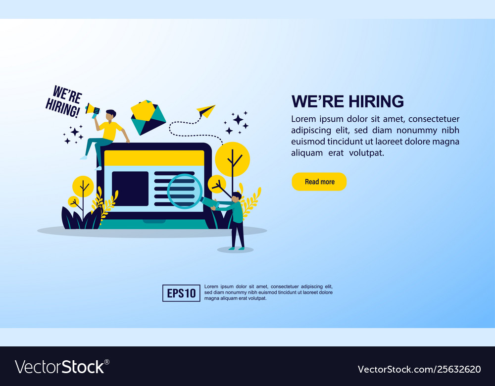 Job hiring concept with icon and character