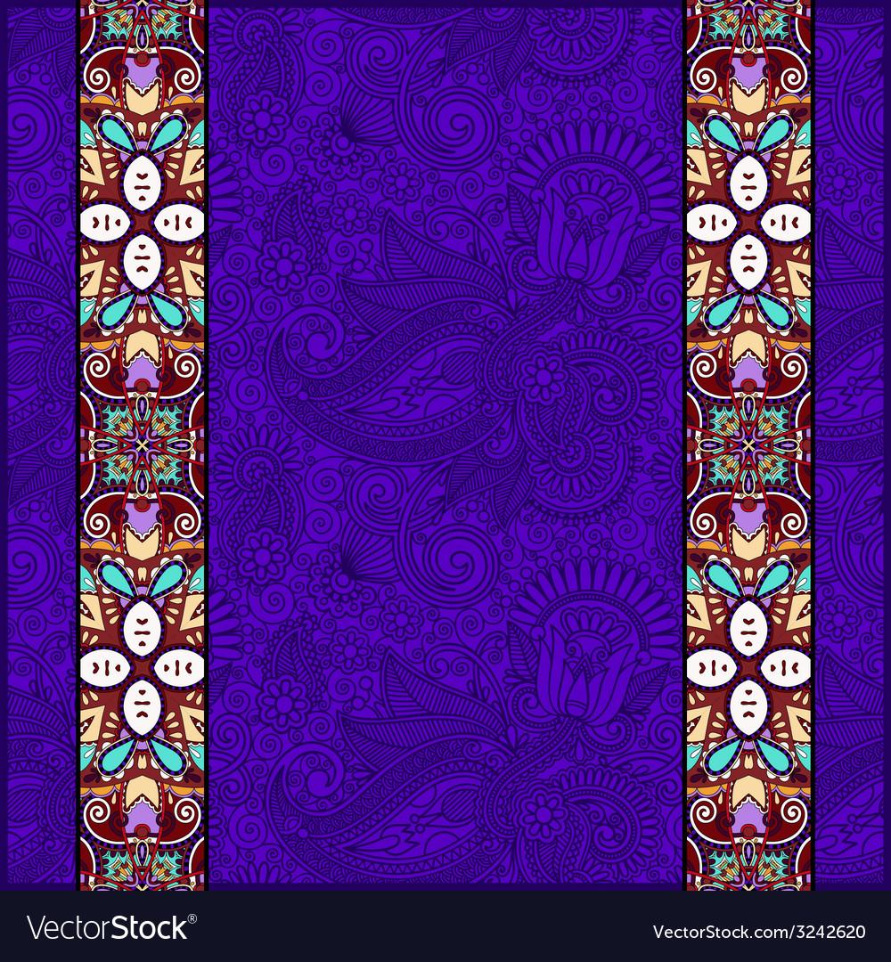 Lace border stripe in ornate floral violet colour