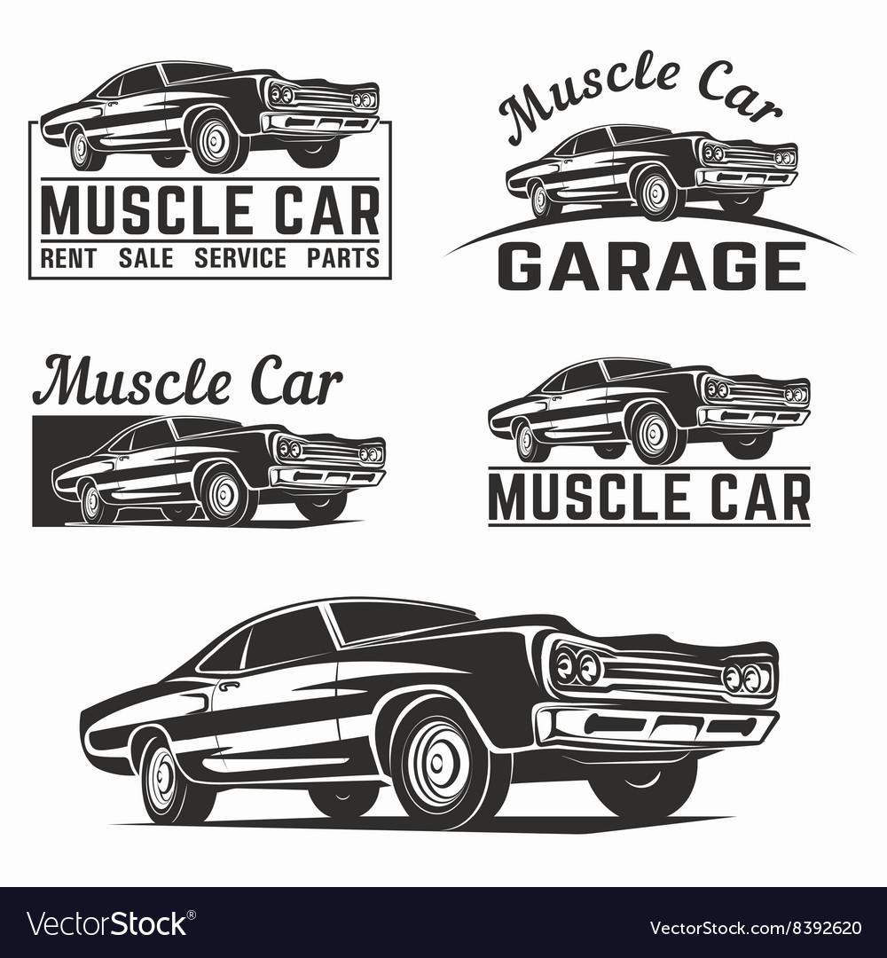 muscle car logo emblem royalty free vector image rh vectorstock com Wolf Logo Wolf Logo