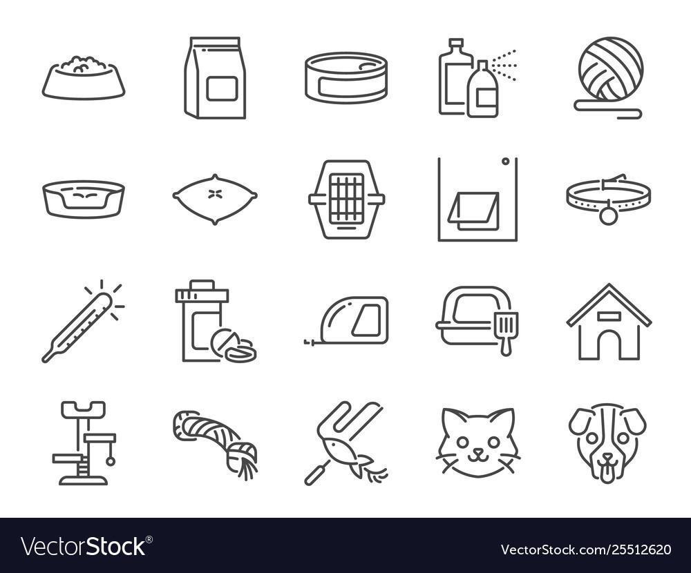Pet shop line icon set