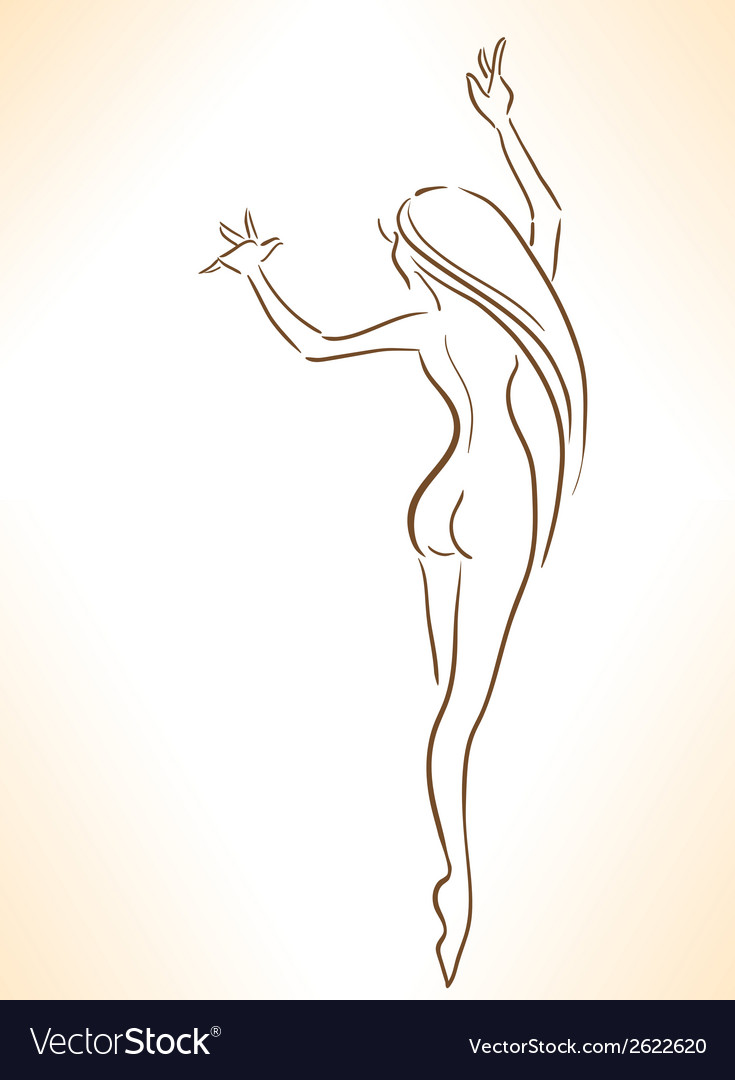 Silhouette of nude dancing slender girl