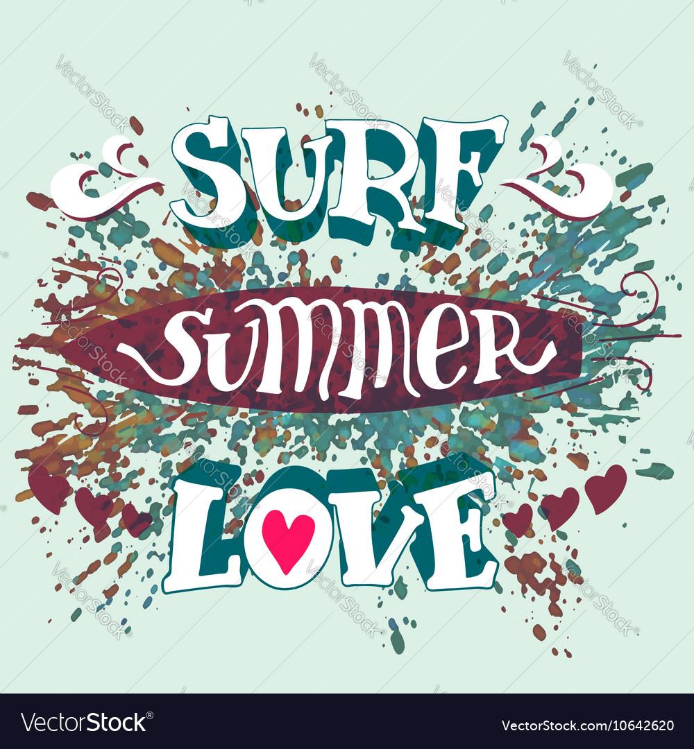 Surf summer love hand lettering