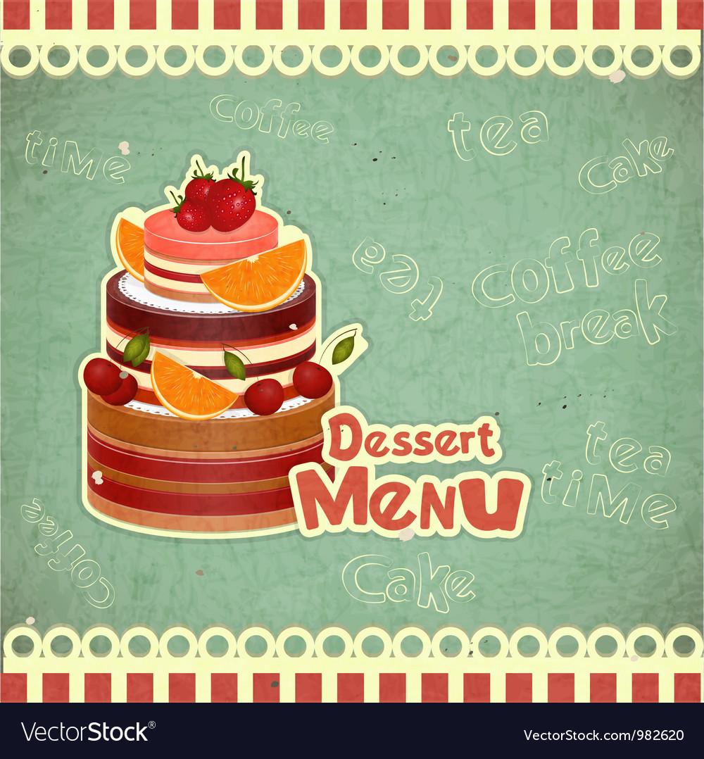 Vintage Cafe or Confectionery Dessert Menu