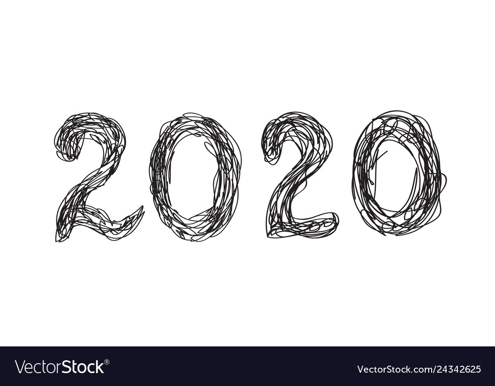 2020 hand drawn lettering for new year and