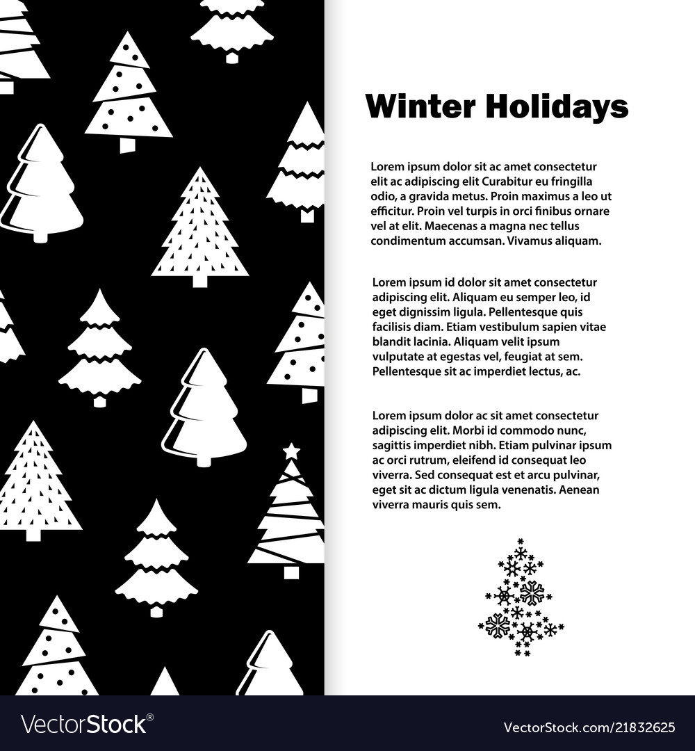 Black and white winter holidays with christmas