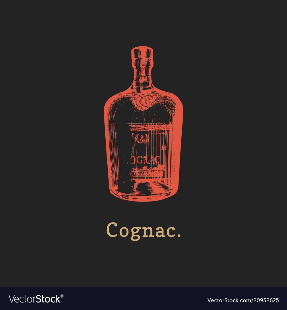 Cognac bottle hand drawn