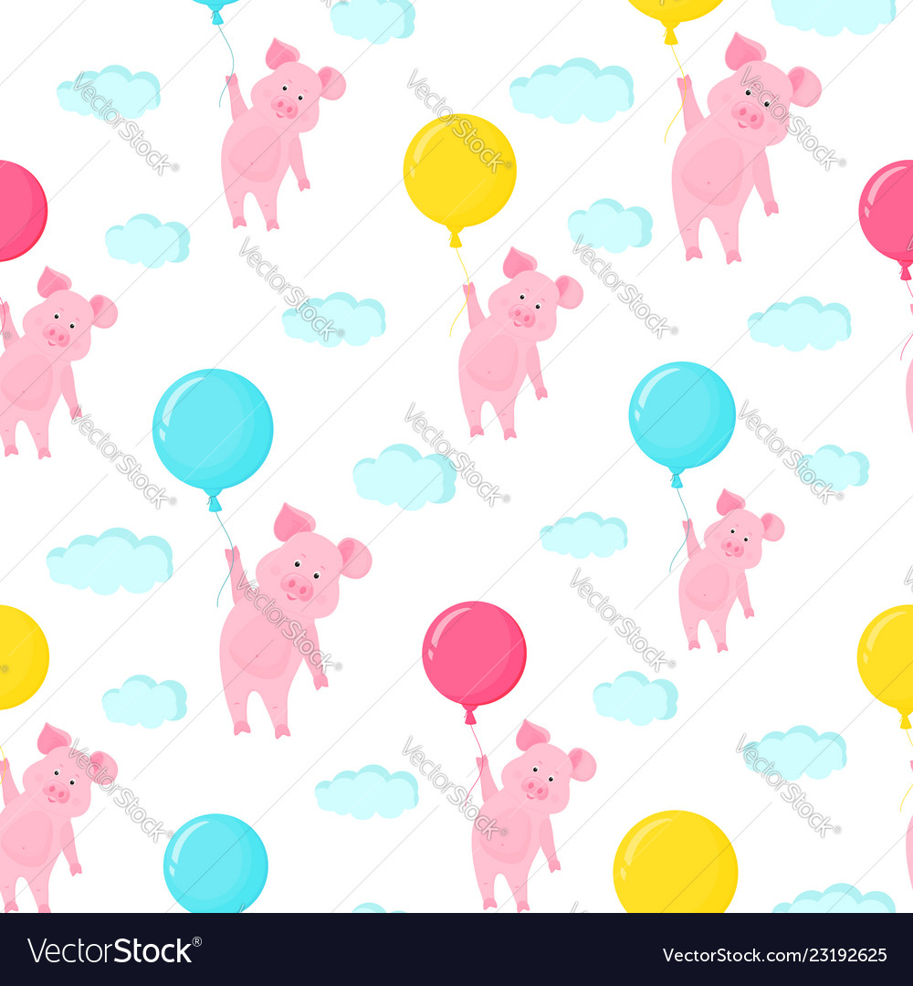 Cute pig flying in the sky holding the balloon
