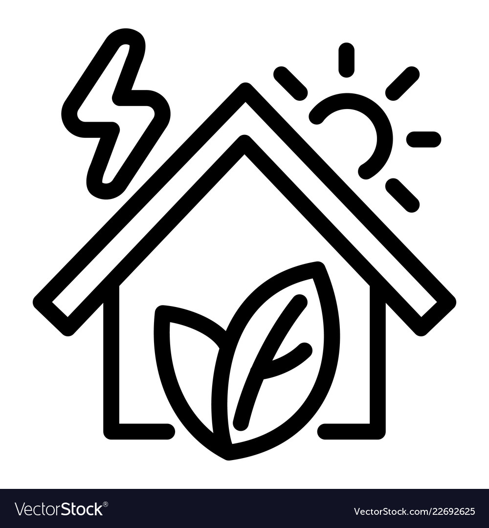 Eco house icon outline style