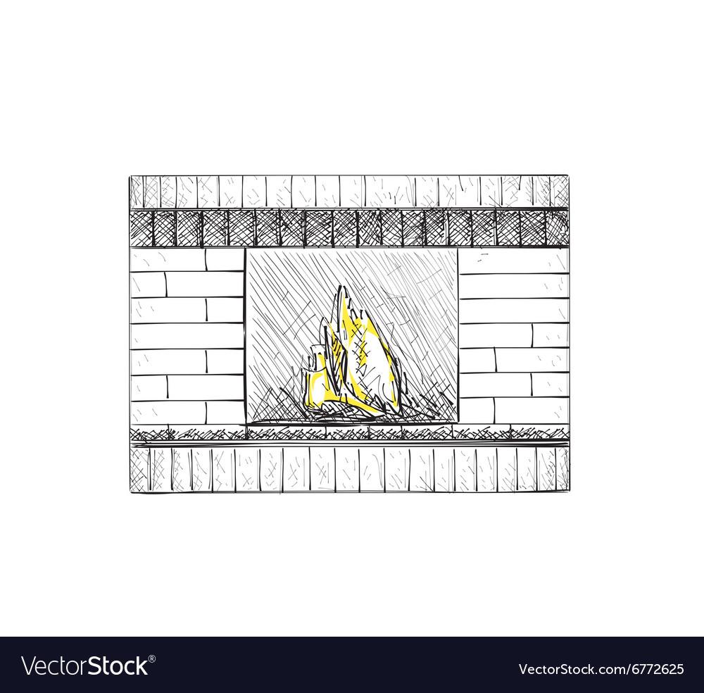 Hand drawn fireplace