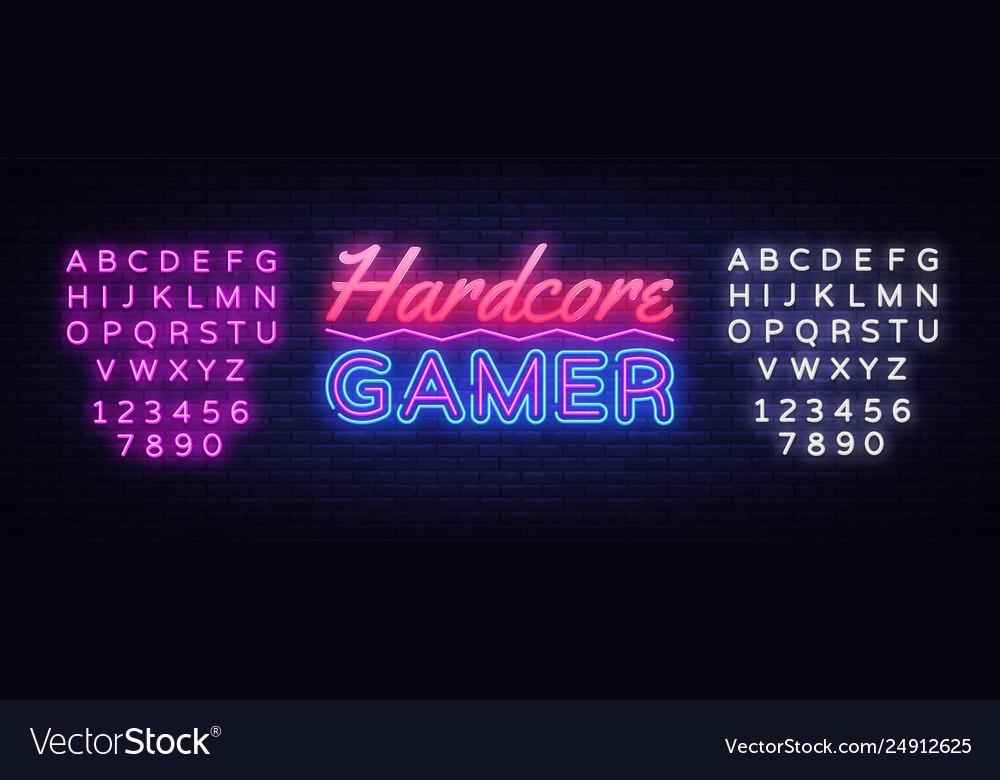 Hardcore gamer neon text gaming neon sign