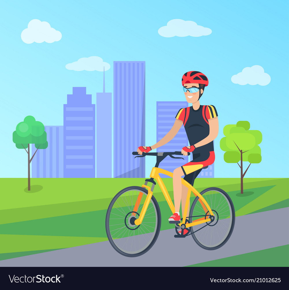 Man in cycling clothing on bicycle