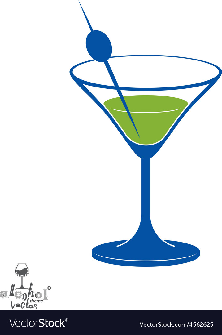 Martini Glass With Olive Berry Alcohol And Vector Image