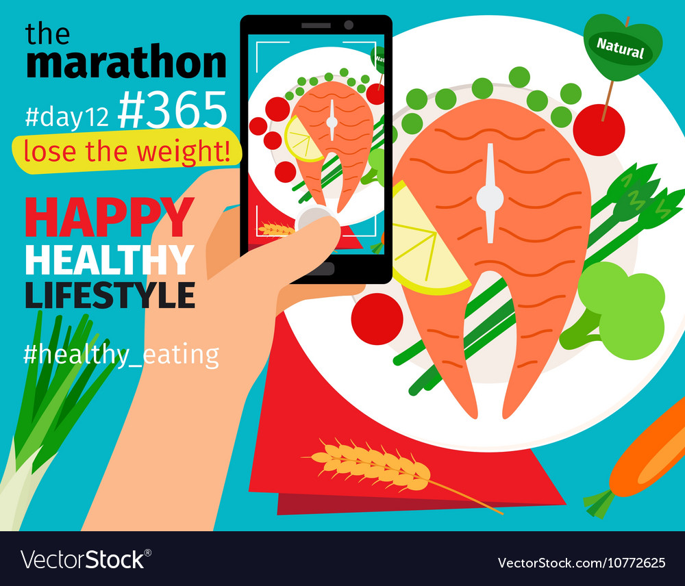 Mobile food photo with calories plan vector image