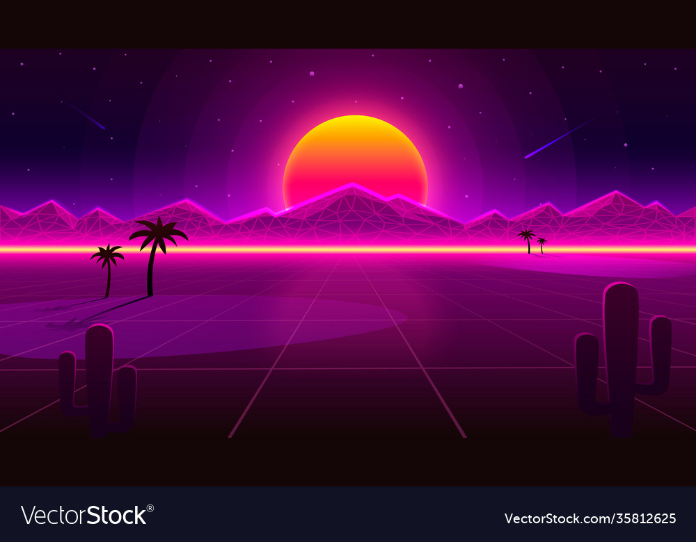 Retro wave desert neon cover with oasis and palm