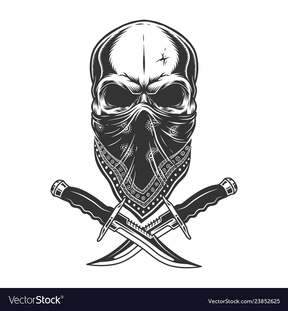 Vintage monochrome skull in bandana