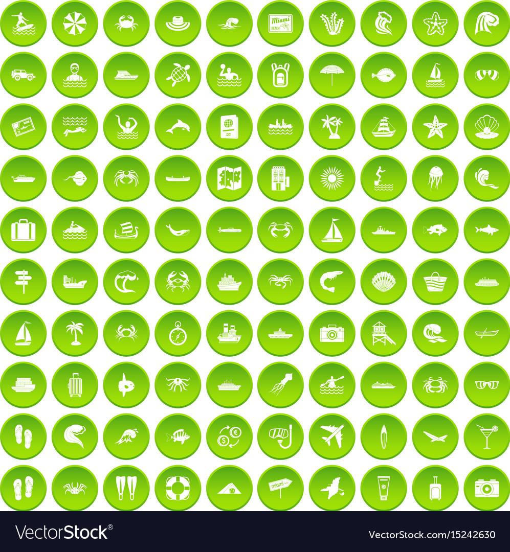 100 sea life icons set green circle