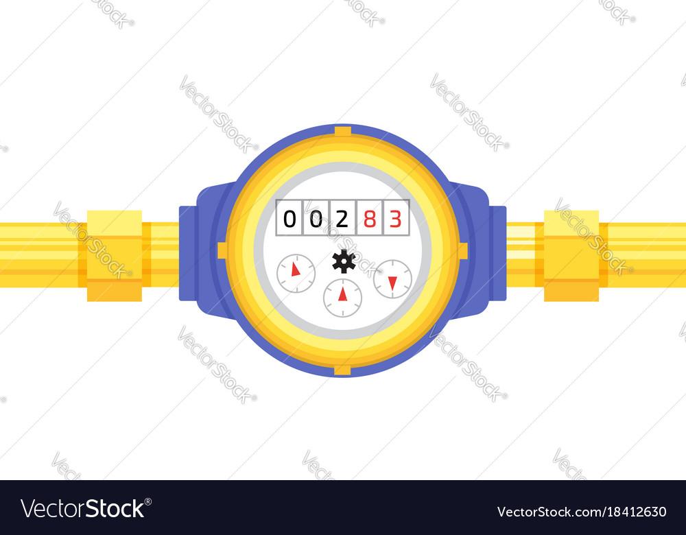 Analog water meter icon in flat style sanitary