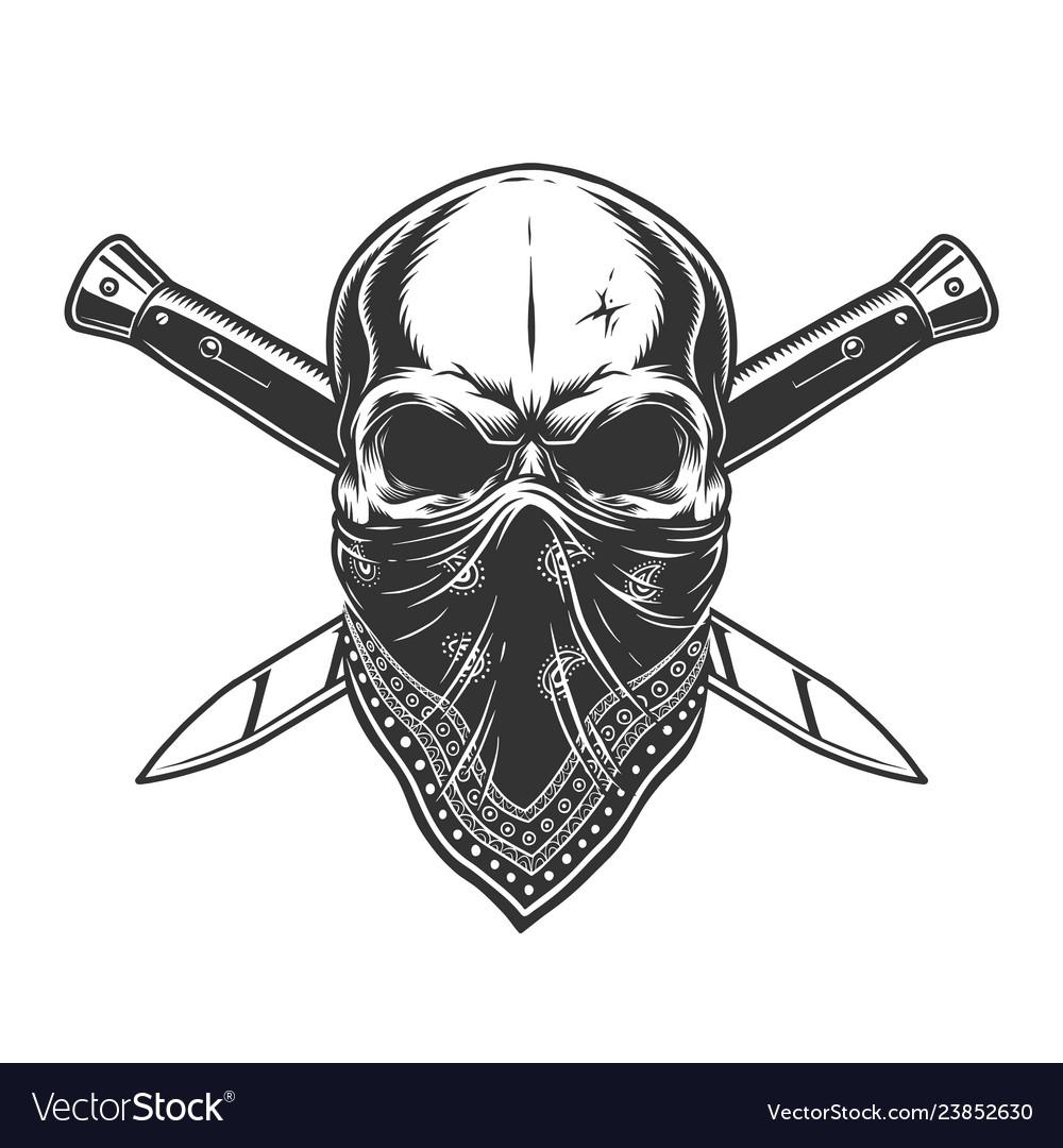 Bandit skull with bandana on face