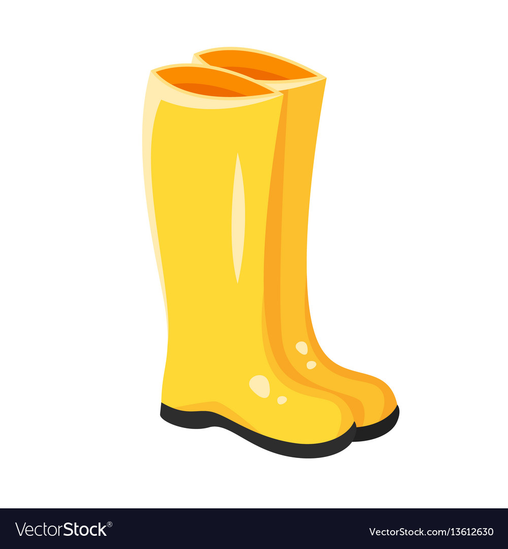 cartoon style of yellow rubber boots royalty free vector