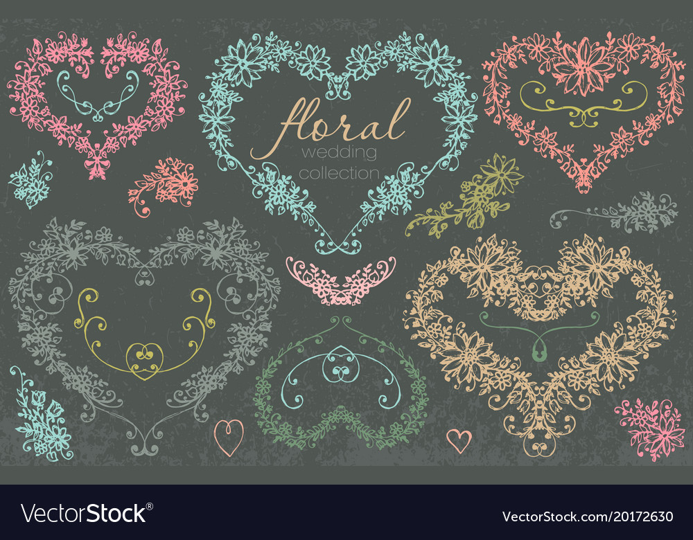 Hand drawn floral wedding and holiday collection