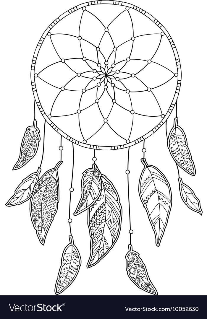 Hand drawn monochrome Dreamcatcher isolated on vector image