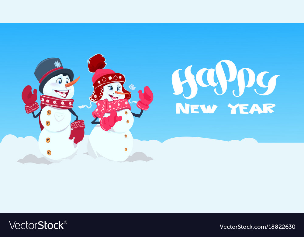 happy new year greeting card with couple of vector image