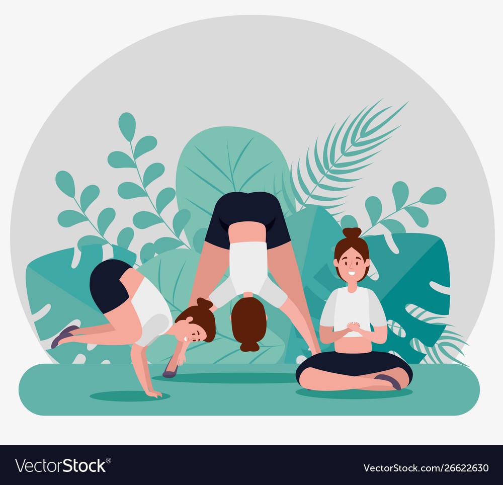 Healthy Women Practice Yoga Meditation Royalty Free Vector