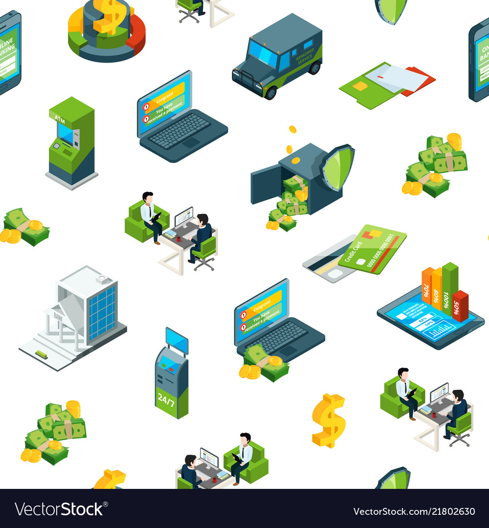 Isometric money bank icons background