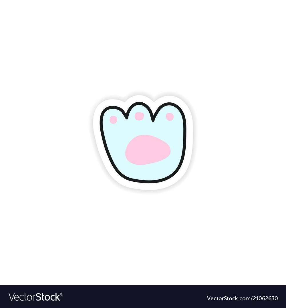Little paw print funny sticker vector image